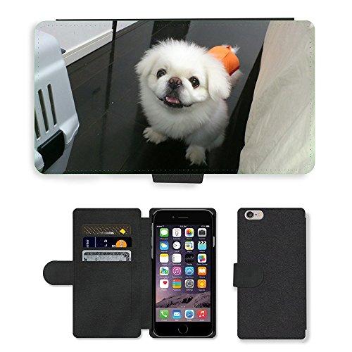 Just Mobile pour Hot Style Téléphone portable étui portefeuille en cuir PU avec fente pour carte//m00138313Lion Maru pour chien pékinois Lair//Apple iPhone 6Plus 14cm