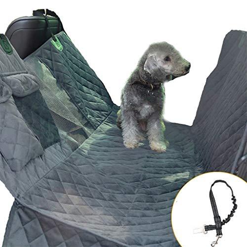 Danm Wasserdichter kurzer Plüsch-Hundeautositzbezug mit sichtbarem Fenster und Rutschfester Haustier-Auto-Matte mit Seitenschweller-Rücksitz-Hundesitzbezug Gray