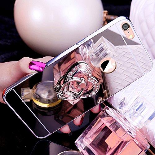 Custodia iPhone 7, iPhone 8 Cover Glitter Specchio, SainCat Custodia in Hard Plastic e Metallo Protettiva Cover per iPhone 7/8, Bling Glitter Sparkles 3D Lusso Rhinestones Strass Diamante Ultra Slim H Argento #1