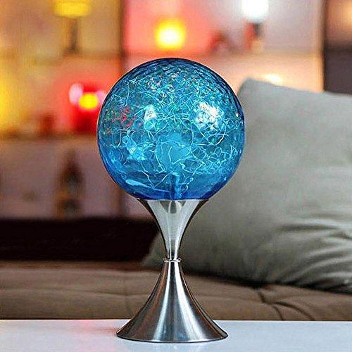 OOFWY LED E27 Lampe de Table Creative pour la chambre à coucher salon décoration éclairage bleu verre fer forgé lampe chevet rond lampe de bureau, button switch