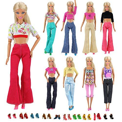 Miunana 30 Pezzi Per Bambola Barbie Dolls Principessa   10 PCS Abiti  Camicette + 10 PCS 149fe7bf84c
