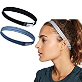 Asoofy 2 Stück dünne Rutschfeste Elastische Sport Stirnbänder für Frauen/Männer dünne Elastische Haarband (Blau & Schwarz)