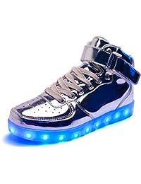 DoGeek LED Schuhe Kinder Damen 7 Farbe USB Aufladen Leuchtend Sportschuhe LED Kinder Farbwechsel Sneaker Turnschuhe Für Herren Damen (46, Silber)