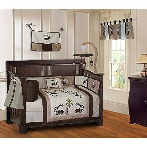 Monkey 10 Piece Boys Baby Crib Bedding Set (Including Musical Mobile) by BabyFad by BabyFad