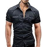 YEBIRAL Herren Freizeit Hemden Vintage Kurzarmshirt Mode Sommer Tops T-Shirt für Männer Hemd Slim Fit(EU-50/CN-XL,Schwarz)