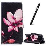 Slynmax Coque Sony Xperia XZ, Étui en PU Cuir Lotus Motif Peint Mode Housse Portefeuille Case de Protection Magnétique avec Emplacement de Cartes Fonction de Support pour Sony Xperia XZ