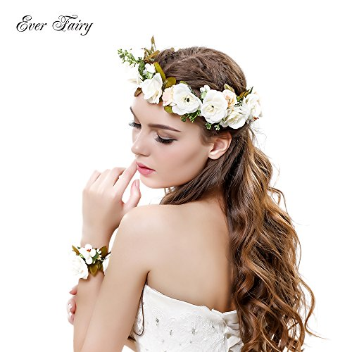Ever Fairy® Women Flower Wreath Crown Floral Wedding Garland Headband Wrist Band Set