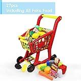 Nuheby Chariot Enfant Caddie Supermarché Jeu d'imitation Fruits et Légumes Jouets Jouet Exterieur Interieur Jeu Educatif pour 3 4 5 Ans Fille Garcon(27 Pièces)