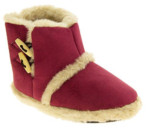 Femmes Coolers chaude hiver faux fourrure doublé bottes à glissière Fuchsia