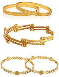 Zeneme Jewellery Combo Of Designer Victoria Bangles, Trendy Gold Plated And Coinage Bangles For Women & Girls...