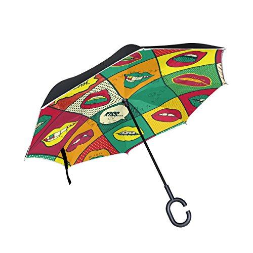 ALAZA Doble Capa invertido Paraguas Coches inversa Paraguas Retro de los Labios de historietas Prueba a Prueba de Viento UV Viaje Paraguas al Aire Libre