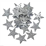 Selbstklebende Glitzer-Sterne, Stern-Aufkleber, zum Selbermachen und kreativen Gestalten von Karten, Weihnachten, 25 mm silber