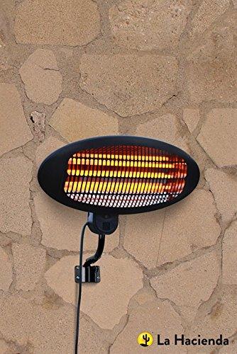 La Hacienda Wall Mounted Black 2000w Patio Heater - Quartz