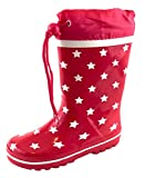 ACO Kinder Gummistiefel Regenstiefel Sterne Rot Gr. 23-32 für Mädchen und Jungen (32)