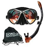 Maskenset Synergy Twin Maske und Spectra Schnorchel von Scubapro in Bomotabag in Schwarz verspiegelt