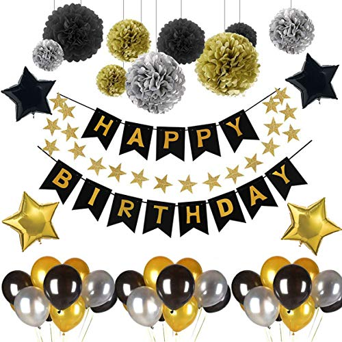 VOHONEY Geburtstag Dekoration,Geburtstagsdeko Party Birthday Deko Geburtstag Dekoration Set Happy Birthday Schwarz Dekoration Geburtstag Banner(Geburtstagsdeko Schwarz)
