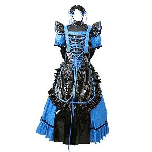 Kleid Blaue Uniform (Gocebaby Sissi Abschließbar PVC Blau Kleid Kurzarm Gothic Lolita Uniform Kostüm (XXXL))
