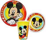 Unbekannt 3 TLG. Geschirrset -  Disney Mickey Mouse  - aus Melamin - Trinkbecher + Teller + Müslischale / Suppenschüssel - Kindergeschirr Frühstücksset - Melamingesch..