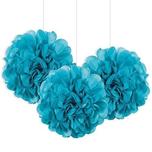 Unique Party- Paquete de 3 pompones pequeños de papel de seda, Color azul cerceta, 23 cm (64223)