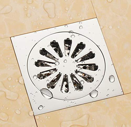Rmbearmoni Bodenablauf Chrome Solid Brass 100 X 100Mm Square Anti-Odor Floor Drain Bathroom Shower Drain -