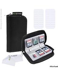 Speicherkarten-Tasche - 2 Stück - Passend für bis zu 22x SD, SDHC, Micro SD, Mini SD und 4x CF - Halterung mit 22 Schlitzen (8 Seiten) - Zur Aufbewahrung und für unterwegs - Mikrofaser-Reinigungstuch und Etiketten enthalten - Schwarz (2x)