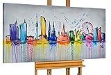 KunstLoft® Acryl Gemälde 'Best of Vienna' 140x70cm | original handgemalte Leinwand Bilder XXL | Wien Österreich Skyline Bunt | Wandbild Acrylbild moderne Kunst einteilig mit Rahmen