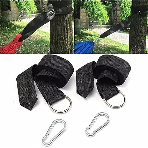OUTERDO 2xAmaca Cinghie Tying Tie Albero Hanging Tie Heavy Duty Estensione Sistema di Sospensione per Esterni - Regolabile - Con due moschettone