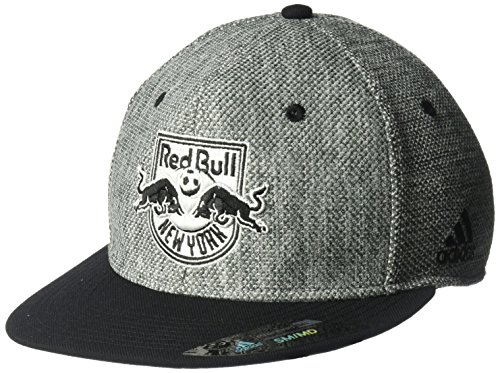 adidas MLS New York Red Bulls Herren 's Heathered Gray Stoff Flat Visor Flex Hat, Small/Medium, Grau