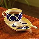ExclusiveLane Soup With A View Ceramic Bowl With Spoon And Tray, 280 Ml, 3-Piece, Blue, White And Yellow