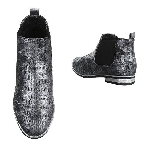 Damen Stiefeletten Schuhe Stiefel Chelsea Boots Schwarz Schwarz Beige Silber 36 37 38 39 40 41 Schwarz