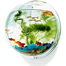 LittleDi Creative Acrylic Round Wall Mounted Hanging Fish Bowl Aquarium Tank for Gold Fish and Beta Fish Plant Vase Home Decoration Pot