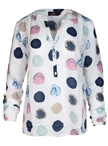 Zwillingsherz Bluse mit Punkt Muster - Hochwertiges Oberteil für Damen Mädchen - Langarmshirt Top - T-Shirt - Pullover - Sweatshirt - Hemd für Sommer Herbst und Winter von Cashmere Dreams Weiß