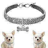Xinxun Hundehalsband Aus Bling Strass Für Kleine Mittlere Hunde, Haustier Halsbänder Pet Halsband Halskette mit Knochenform Anhänger, Silber S
