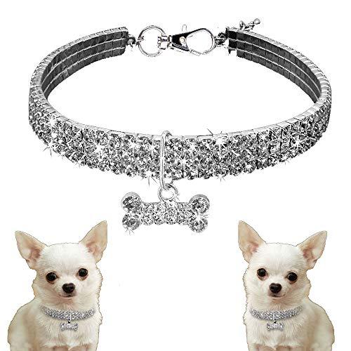 Xinxun Hundehalsband Aus Bling Strass Für Kleine Mittlere Hunde, Haustier Halsbänder Pet Halsband Halskette mit Knochenform Anhänger, Silber L