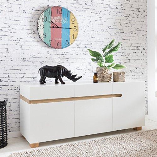FineBuy Sideboard SCANIO 160 x 52 x 70 cm MDF-Holz skandinavisch weiß matt Kommode | Design Anrichte mit 3 Türen ohne Griffe | Moderne Mehrzweckkommode