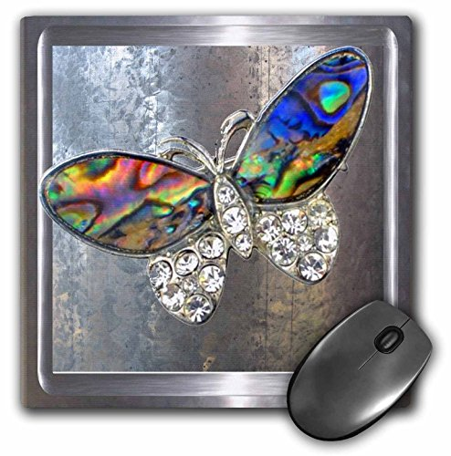 3dRose LLC 8 x 8 x 0.25 Inches Mouse Pad, Realistic Looking Silver Frame and Background with Our Glitter Art Butterflies (mp_108072_1)