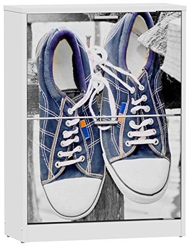 Commode meuble à chaussures de 2 portes laqué blanc motif Sneakers Hanging, 600 x 242 x 820 mm -PEGANE-