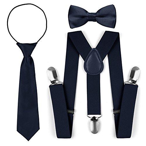 Kinder Kleinkind verstellbare elastische Mode Hosenträger Fliege Krawatte Set (Marine)