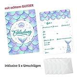 nikima Schönes für Kinder 5 Einladungskarten Meerjungfrau mit Glitzer inkl. 5 Transparenten Briefumschlägen Kindergeburtstag Mädchen Einladung Party