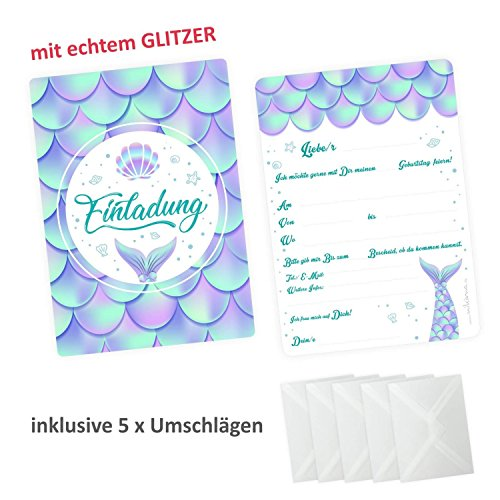 Kinder 5 Einladungskarten Meerjungfrau mit Glitzer inkl. 5 Transparenten Briefumschlägen Kindergeburtstag Mädchen Einladung Party ()