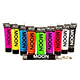 Moon Glow - Intensiv 9x12ml UV-Bodypaint Körpermalfarben Schwarzlicht fluoreszierende Schminke Bodypainting Neon Farben Leuchtfarben