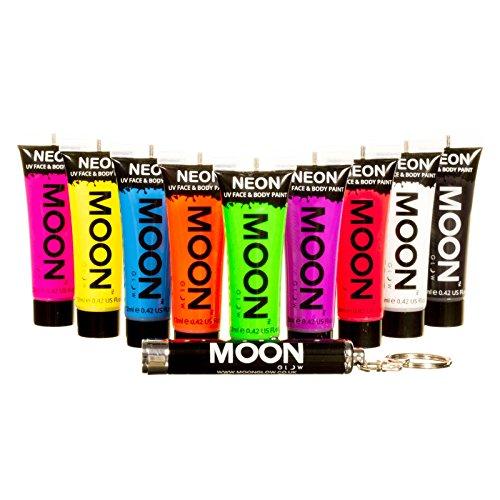 Moon Glow – Peinture fluo UV intense visage & corps. 12 ml. Lot de 9 coloris. Un porte-clés UV offert.