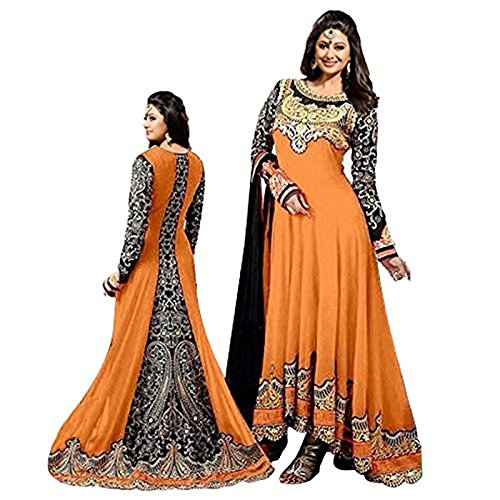 Women's Orange Color Georgette Embroidered Long Anarkali Semi-Stitched Salwar Suit  available at amazon for Rs.1099