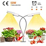 Niello 50W Sunlike Lamp Auto Timer LED Pflanzenlampe Vollesspektrum Wachstumslampe, Zweikopf LED Grow Light mit Austauschbarem E27 Leuchtmittel,Professionelles für Sämlinge, Wachstum, Blüte