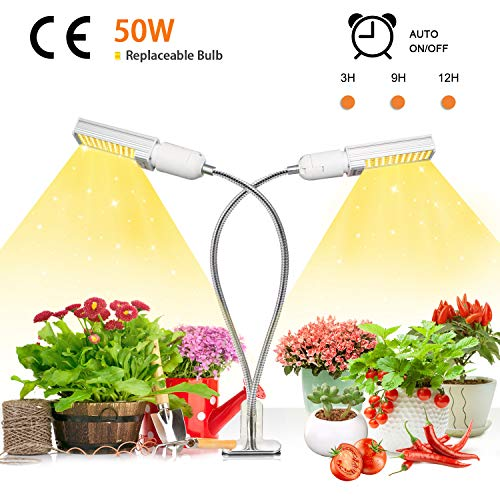 Niello 50W Sunlike Lamp Auto Timer LED Pflanzenlampe Vollesspektrum Wachstumslampe, Zweikopf LED Grow Light mit Austauschbarem E27 Leuchtmittel,Professionelles für Sämlinge, Wachstum, Blüte