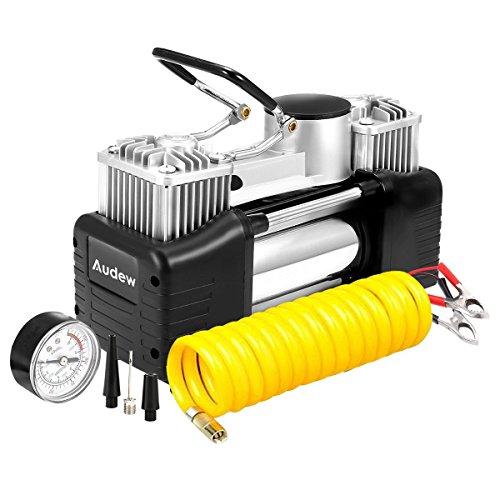 Audew Pompa compressore d'aria portatile, gonfia pneumatici, resistente, pompa d'aria a doppio cilindro, 150PSI, per auto, limousine, motore, bicicletta, camio