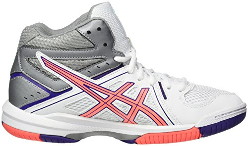Asics Damen Gel-Task MT Volleyballschuhe Weiß (White/Flash Coral/Parachute Purple)