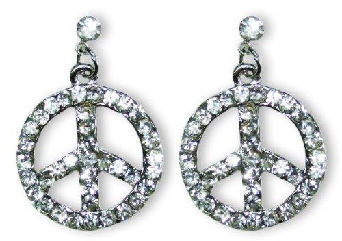 Strass Ohrringe mit Peace Anhängern zum Retro Hippie Kostüm