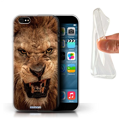 Coque Gel TPU de Stuff4 / Coque pour Apple iPhone 4/4S / Girafe Design / Animaux sauvages Collection Lion