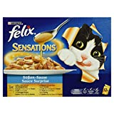 Felix Sensations Soßen-Sause Katzenfutter Fisch, 12 Beutel,(12 x 100 g)